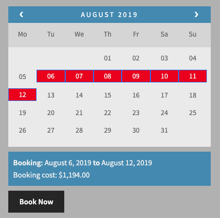 Booking cost in August