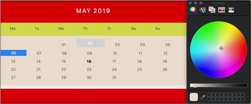calendar Colour Customisation