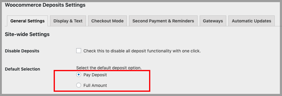 Deposit default selection