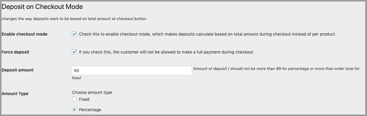 Deposit on checkout options