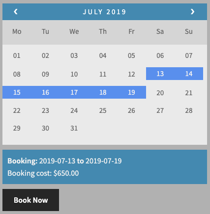 High Season Booking Charges