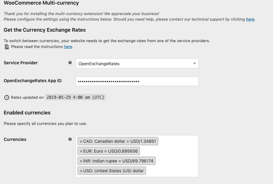 WooCommerce Multi-Currency settings