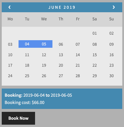 2 days booking cost