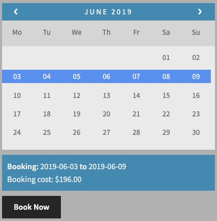 7 days booking cost