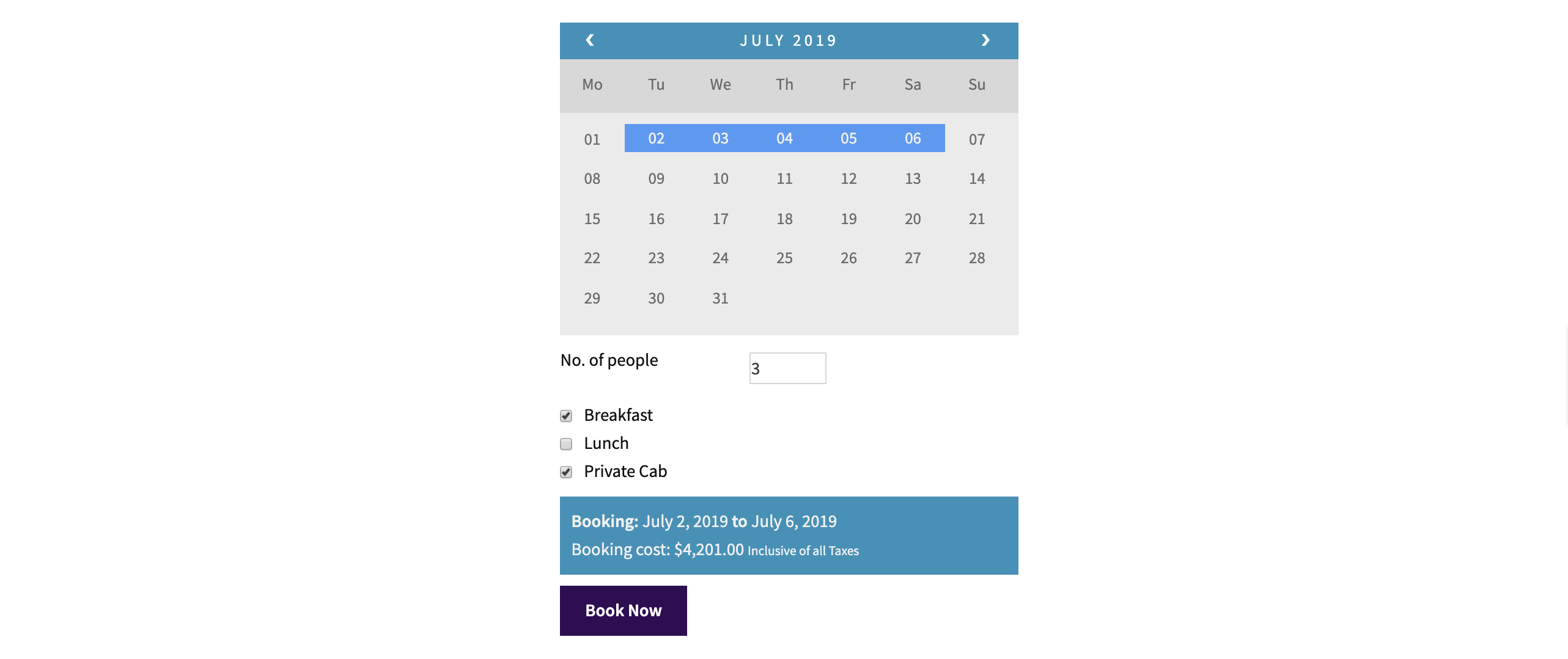 booking tours calendar
