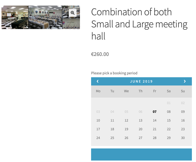 community hall woocommerce bookings