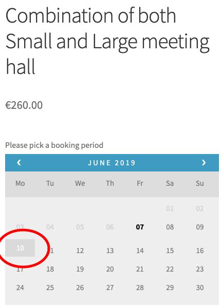 community hall woocommerce bookings