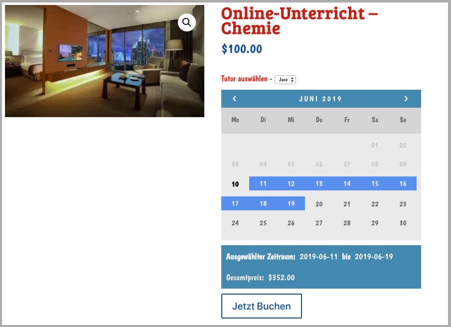 Bookings Calendar In German