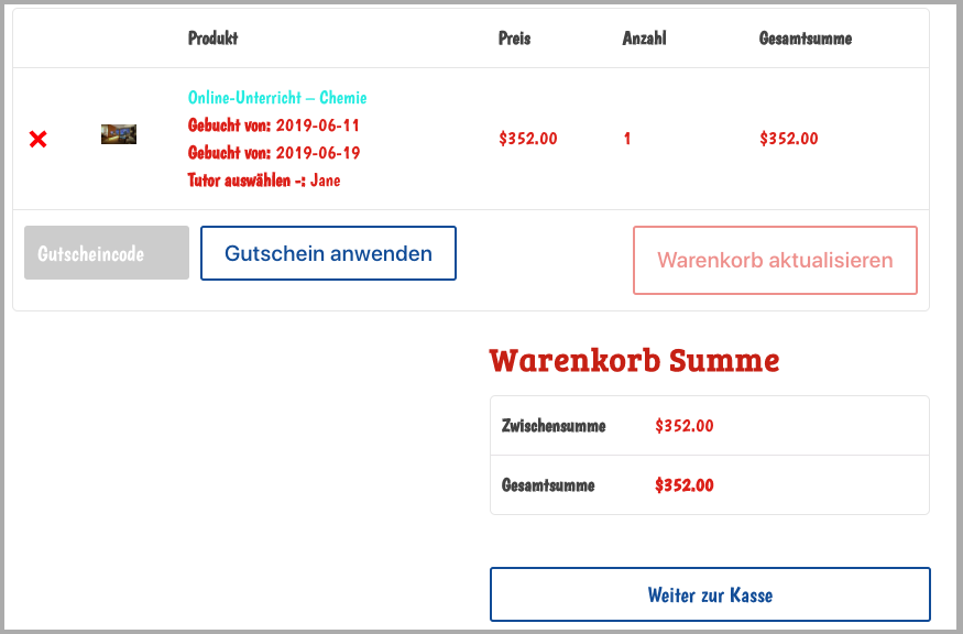 Cart Page in German