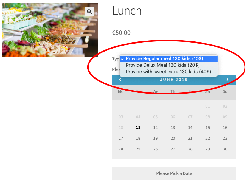 lunch woocommerce bookings