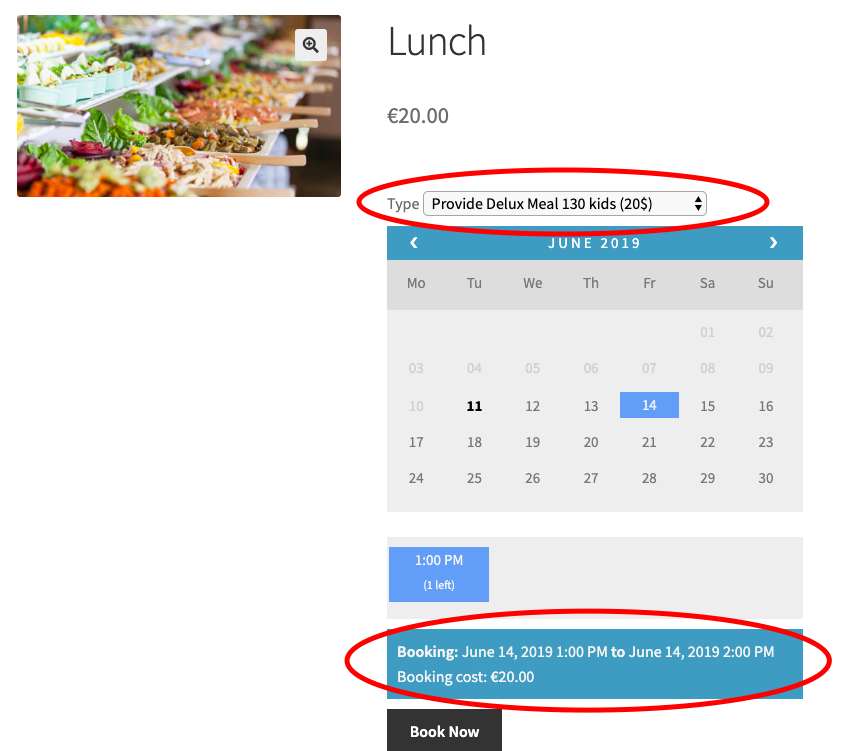 lunch price woocommerce bookings