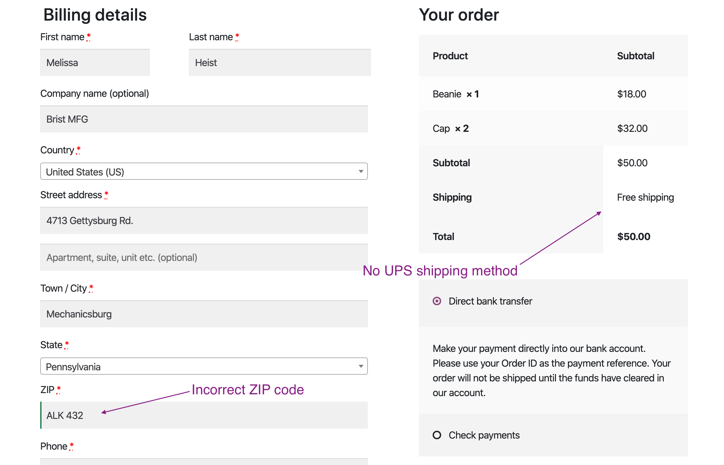 no woocommerce shipping method with incorrect zip code