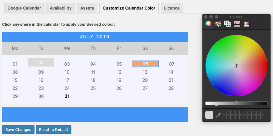 Calendar Customization design