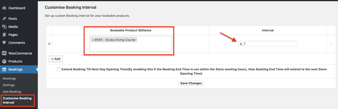 Custom Booking Interval