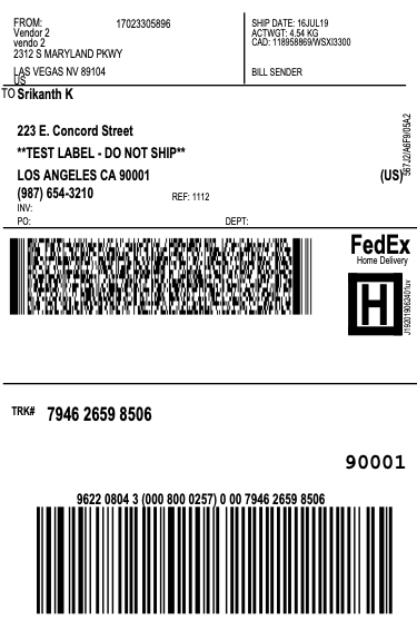 Vendor 2 Shipping label