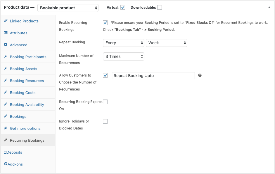 setting up woocommerce recurring bookings