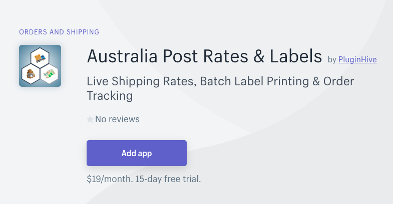 Add Australia Post Rates and Labels app