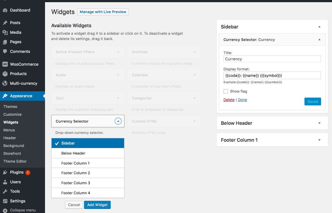 Configuring the multi-currency widget