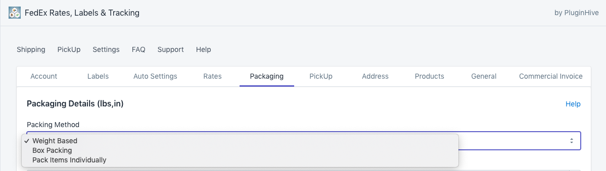 Packing methods in Shopify FedEx app