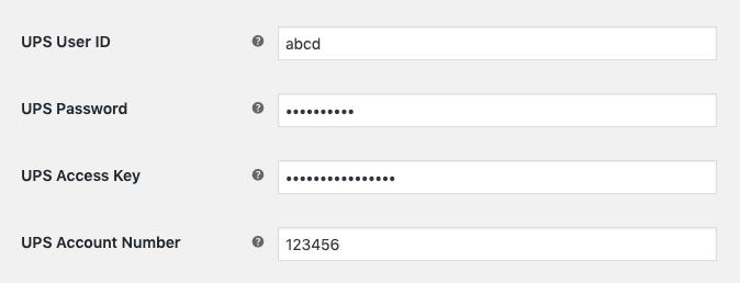 UPS Account settings