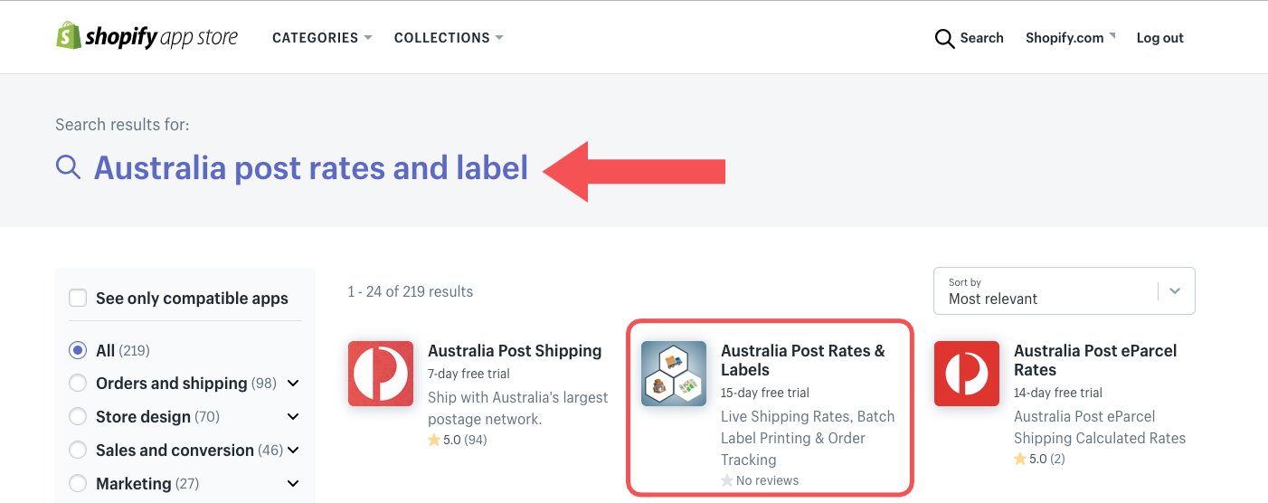 Search for Australia post rates and label on App store