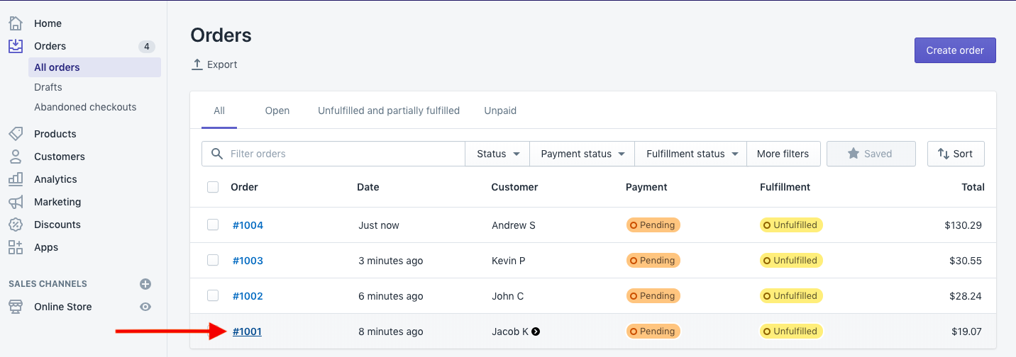 Shopify Orders Page