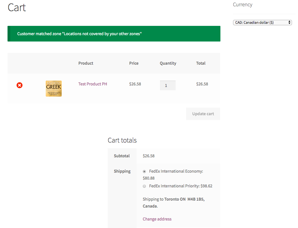 WooCommerce Cart page with multiple currencies