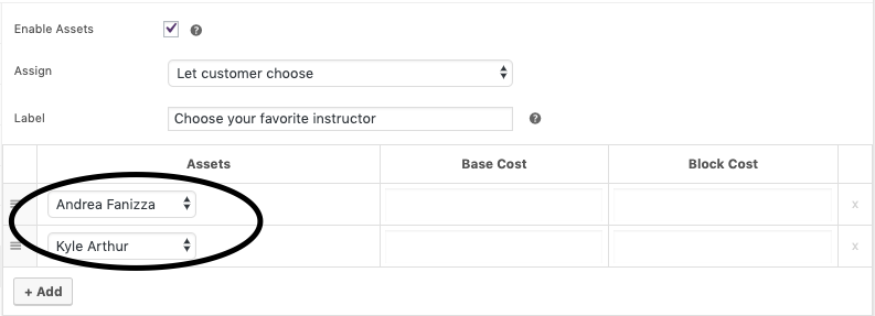 choose staff members in product edit page
