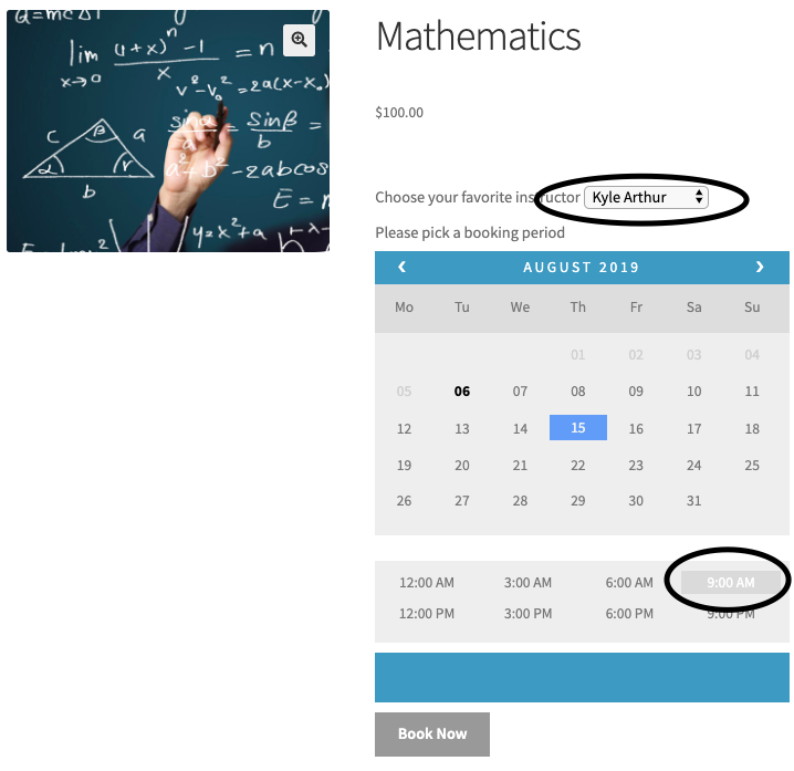 booking availability for mathematics