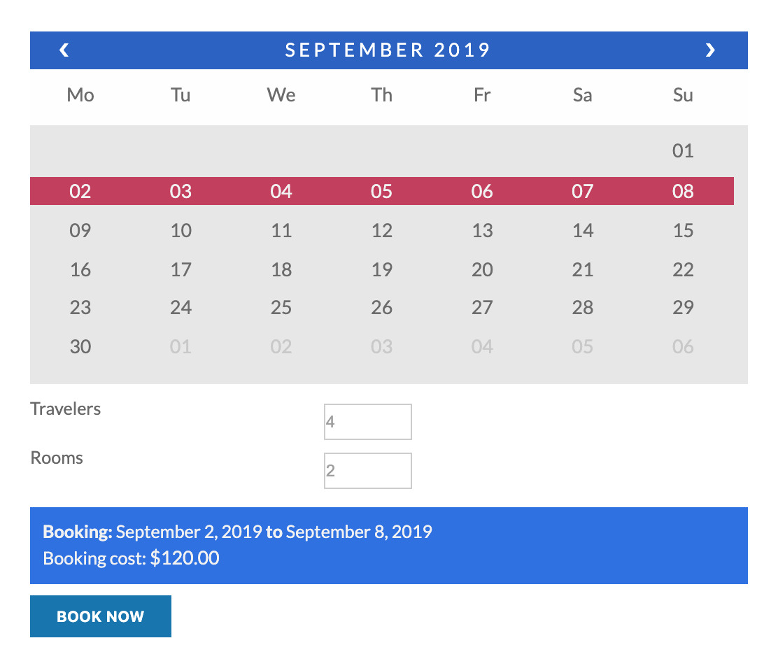 booking calendar with two input fields