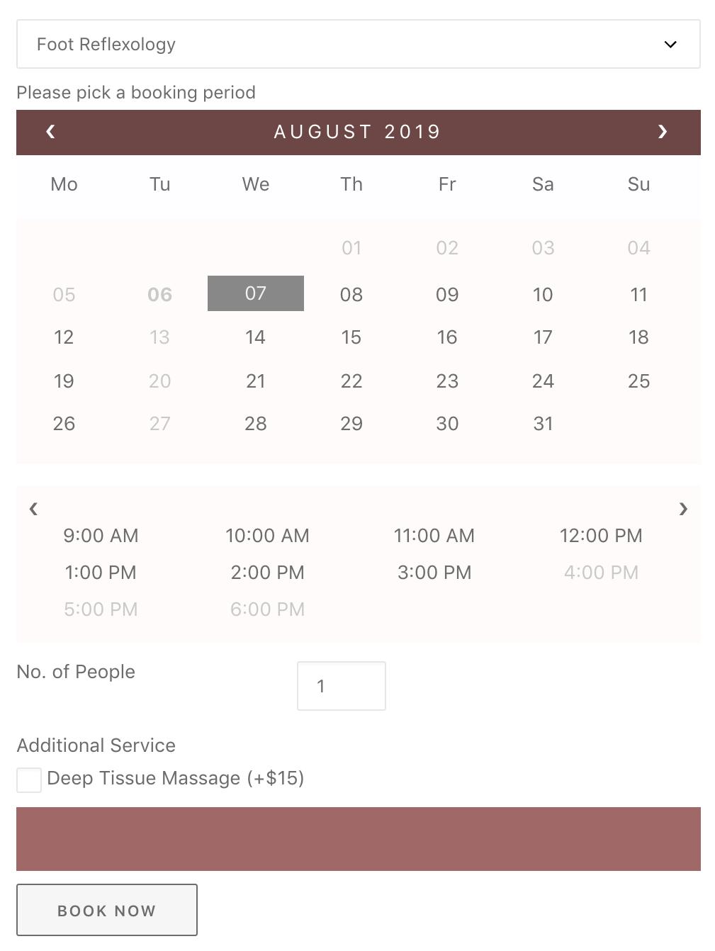 bookings calendar