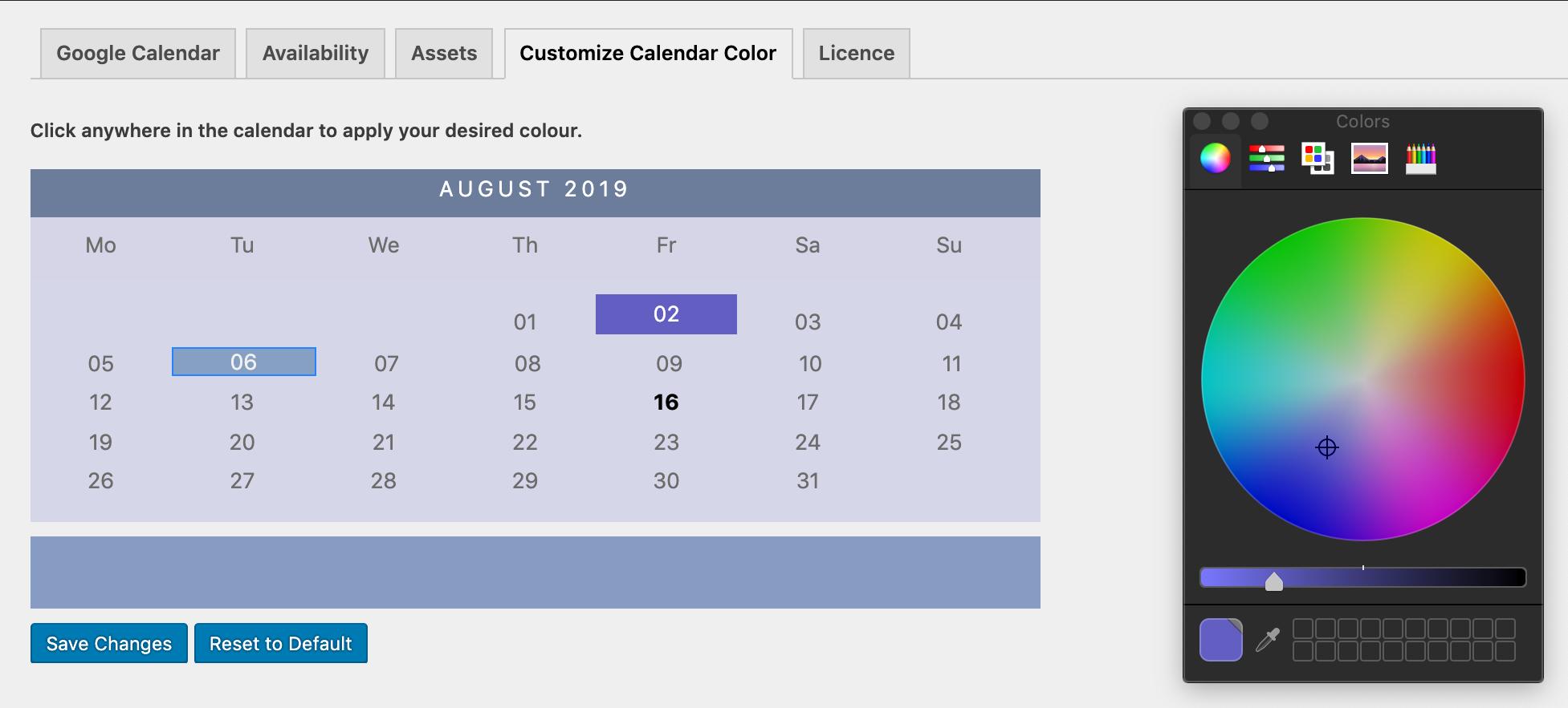 choose booking calendar design