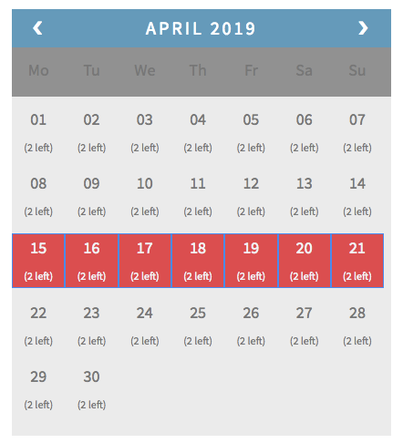 peak time booking interval
