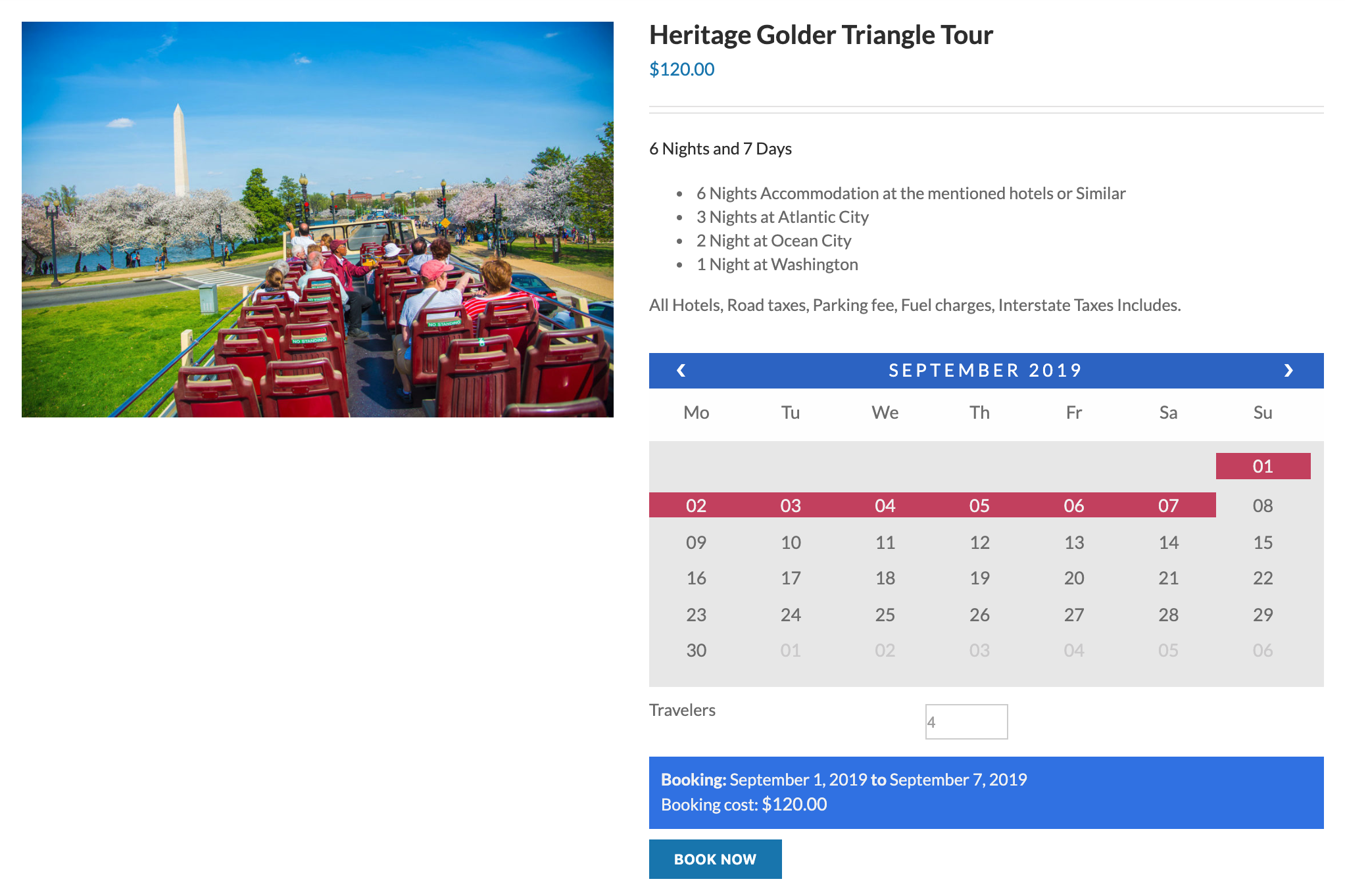 product page with booking calendar