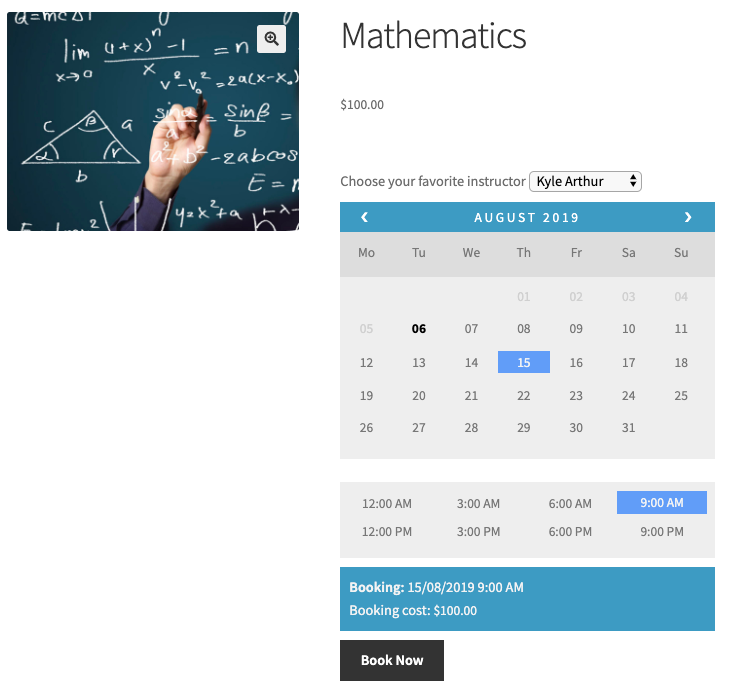 select booking period for mathematics