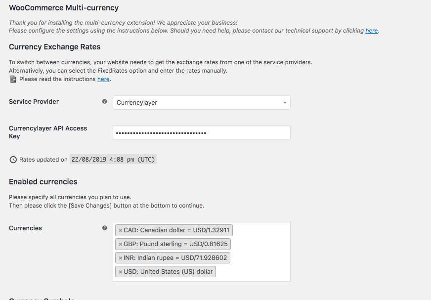 setting up multi-currency plugin