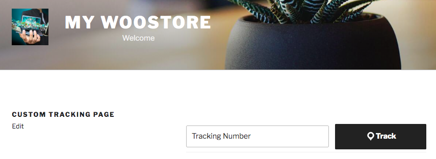 Custom shipment tracking page with placeholder