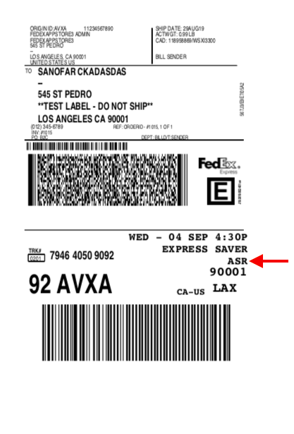 FedEx Label for Adult signature