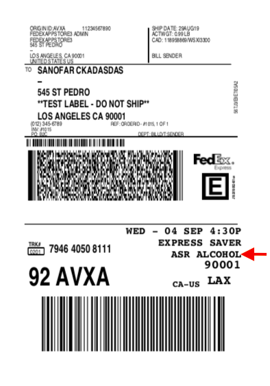 FedEx Label for Alcohol shipping