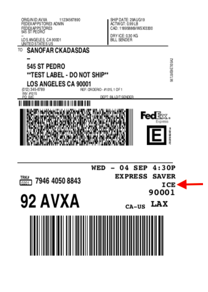 FedEx Label for Dry ice shipping