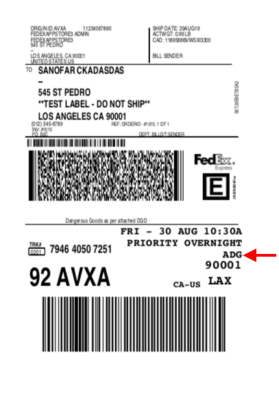 FedEx Label for dangerous goods shipping