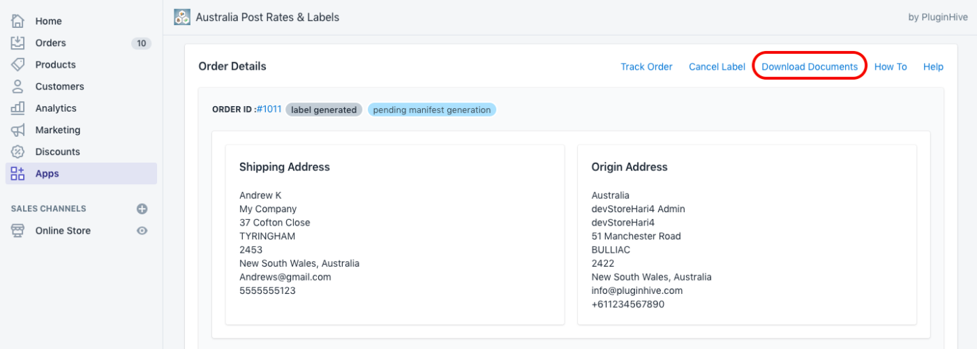 Label Generation Confirmation page