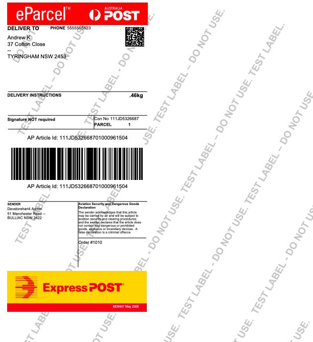 Sample Australia Post Label