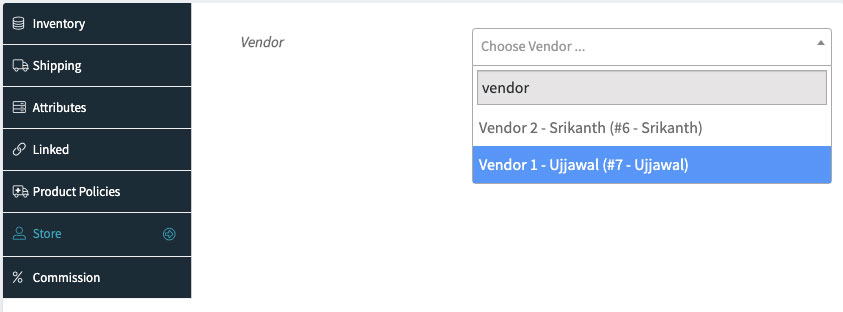 Assign product to vendors