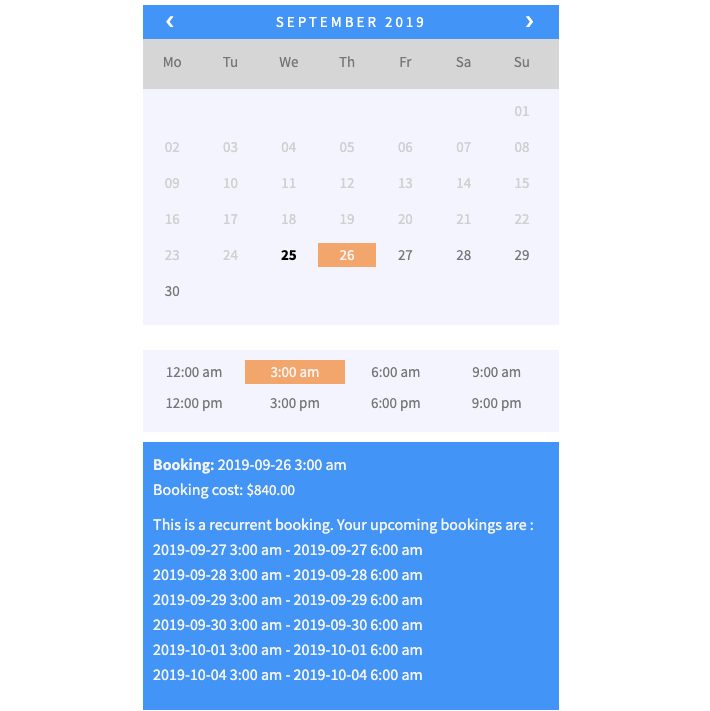 daily recurring booking