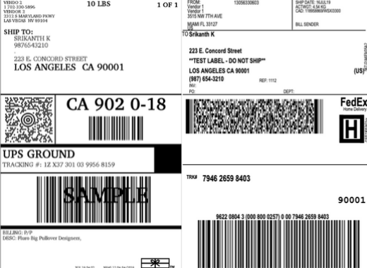 multiple vendor shipping labels