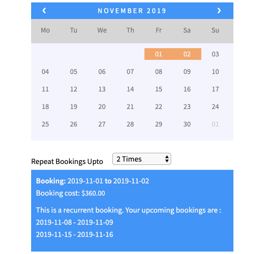 recurring booking on product page