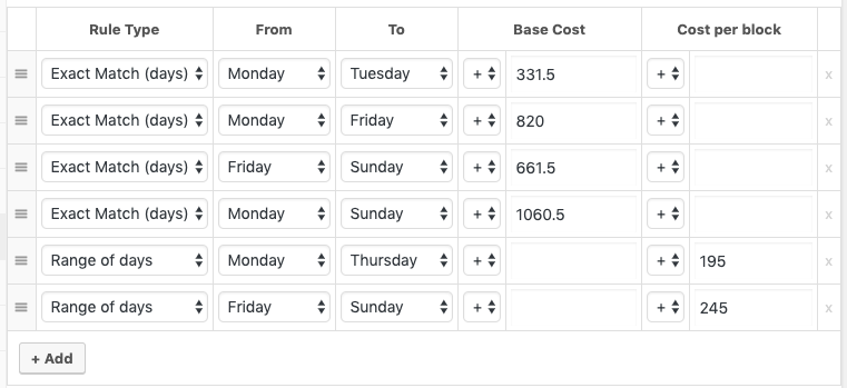 sample woocommerce booking pricing rule