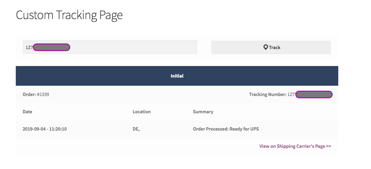 Shipment tracking page with a sample UPS tracking number