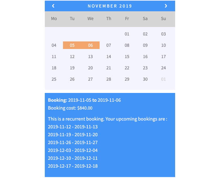 weekly recurring bookings